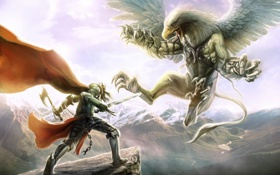 Картинка горы, оружие, скалы, крылья, меч, существо, воин