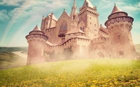 Картинка замок, радуга, башни, дворец, старинный, castle