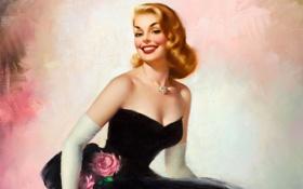 Обои взгляд, улыбка, волосы, помада, блондинка, перчатки, черное платье