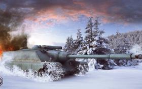 Картинка зима, снег, Франция, танк, танки, France, WoT