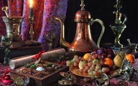 Обои посуда, фрукты, натюрморт, специи
