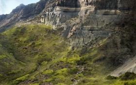 Обои зелень, горы, скалы, арт, Alberto Vangelista