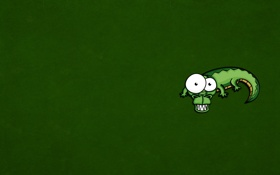 Обои глазастый, крокодил, ящер, зубастый, Crocodile, зеленый, минимализм