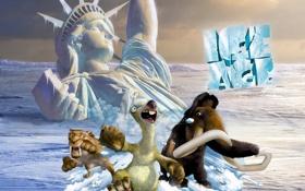 Обои Нью-Йорк, Статуя Свободы, Диего, sea, мамонт, New York, movie