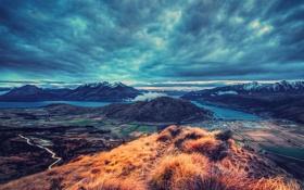 Картинка облака, река, поля, Горы