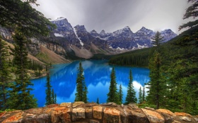 Картинка камни, Banff National Park, лес, скалы, Canada, озеро, Alberta