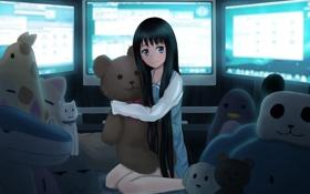 Картинка игрушки, девочка, мониторы, kamisama no memo chou, медаедь