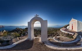 Обои побережье, Санторини, Греция, панорама, арка, часовня, Santorini