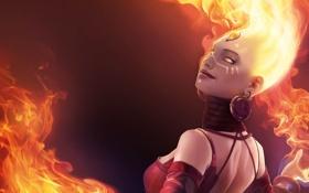 Обои кристалл, девушка, фон, огонь, магия, серьги, арт