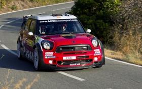 Обои Красный, Дорога, Асфальт, Mini Cooper, WRC, Rally, Ралли
