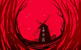 Обои снег, арт, мельница, красный фон