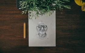 Обои бумага, стол, рисунок, карандаши, старик
