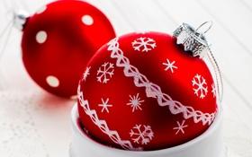 Обои шарики, узор, игрушки, Новый Год, Рождество, красные, декорации