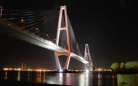 Картинка небо, ночь, мост, город, огни