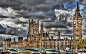 Обои England, HDR, Bridge, Westminster Palace, часы, парламент, мост