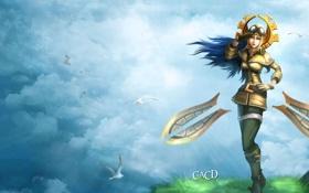 Обои трава, девушка, птицы, арт, league of legends, Irelia, CaCD