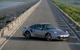 Обои насыпь, серебристый, Porsche, 911, Silver, передок, порше