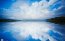 Картинка небо, облака, озеро, отражение, лодка, photographer, Kenji Yamamura