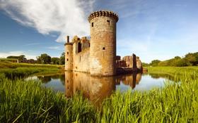 Обои замок, башня, озеро, castle, старинный