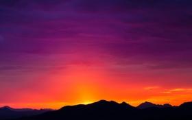 Картинка небо, горы, силуэт, Аризона, зарево, США, Tucson