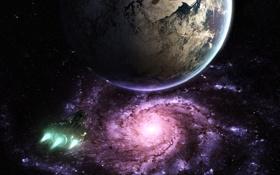 Обои космос, будущее, фантастика, планета, звёзды, future, space