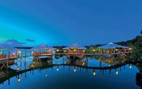 Обои океан, вечер, причал, ресторан, resort, Mauritius, dining