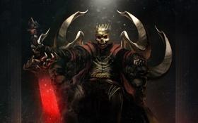 Обои меч, корона, скелет, трон, мертвец, overlord