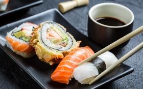 Обои суши, соевый соус, роллы, rolls, sticks, soy sauce, японская кухня