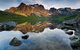 Картинка пейзаж, горы, природа, озеро, отражение, камни, Reflection