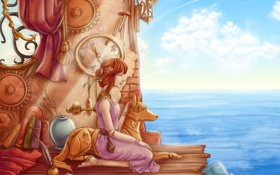 Картинка небо, спина, девушка, вода, море, пес, шестеренки