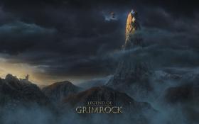 Обои руины, legend of grimrock, дирижабль, облака, туман, горы