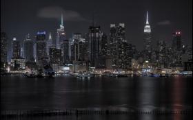 Картинка ночь, город, new york city