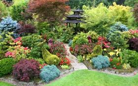 Обои деревья, цветы, газон, сад, дорожка, беседка, кусты