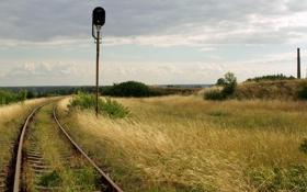 Картинка лето, трава, фото, светофор, железная дорога