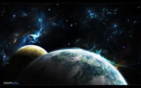 Обои сияние, планеты, полярное
