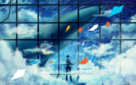 Картинка небо, облака, провода, аниме, арт, кит, парень