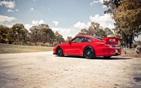 Обои асфальт, Porsche, красная, Turbo, 997 GT3