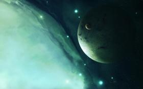 Картинка космос, звезды, туманность, луна, планета, спутник