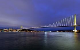 Обои мост, город, огни, река, вечер, мегаполис