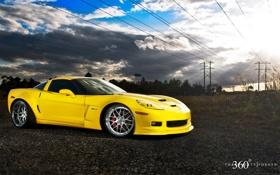 Обои Corvette, желтый, Chevrolet