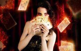 Картинка карты, огонь, Девушка, гранж, макиияж