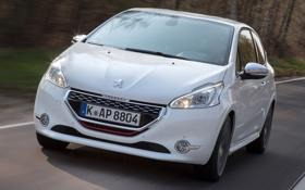 Обои дорога, машина, белый, Peugeot, пежо, GTI, 208