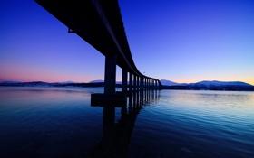 Обои небо, горы, мост, пролив, вечер