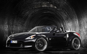 Картинка машина, авто, чёрный, nissan, 370z