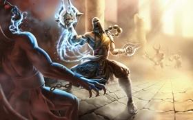 Обои арт, монах, демоны, diablo 3, храм. колонны