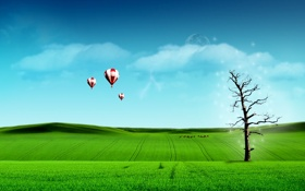 Обои зелень, небо, дерево