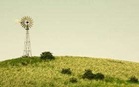 Обои поле, небо, трава, облака, ветер, мельница, сельская местность