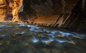 Картинка река, скалы, каньон, ущелье, Zion National Park, сша, юта
