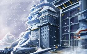 Обои зима, снег, горы, замок, здание, ворота, арт