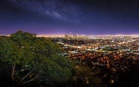 Обои город, Los Angeles, Griffith Observatory, панорама. огни